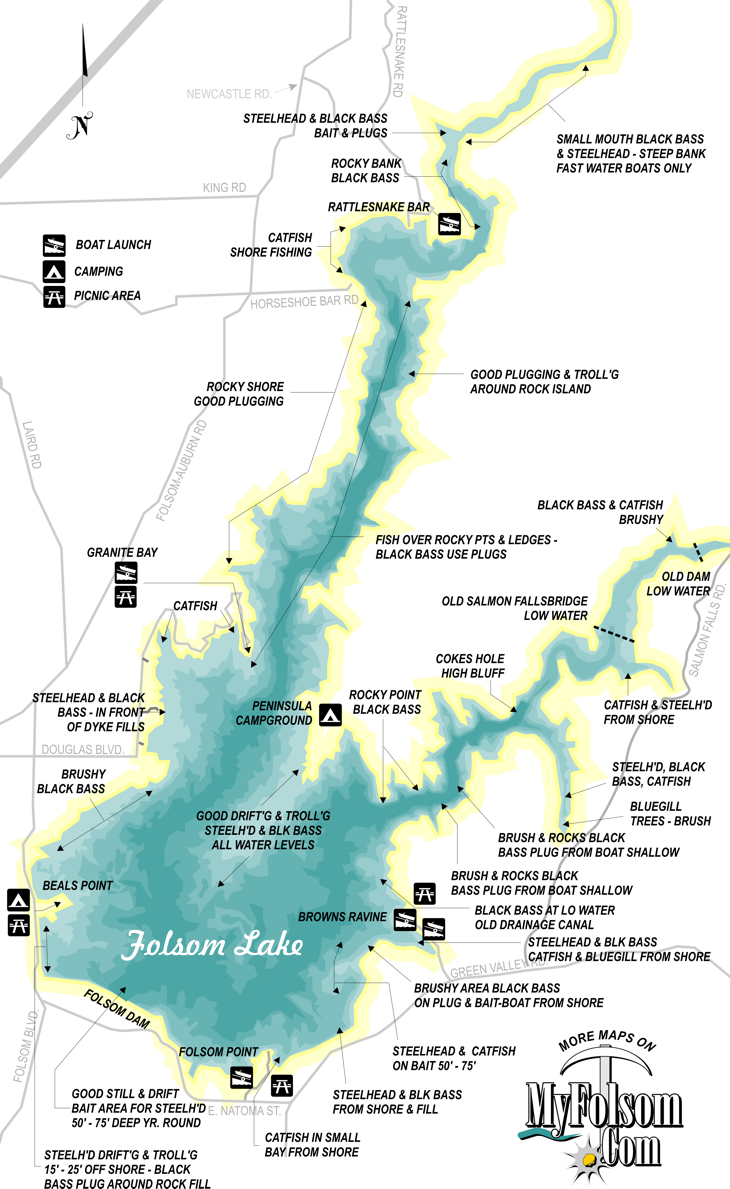 folsom lake fishing map